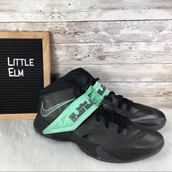 sports shoes bf7d6 e1d09 Nike Lebron Zoom Soldier VII Black Green Glow